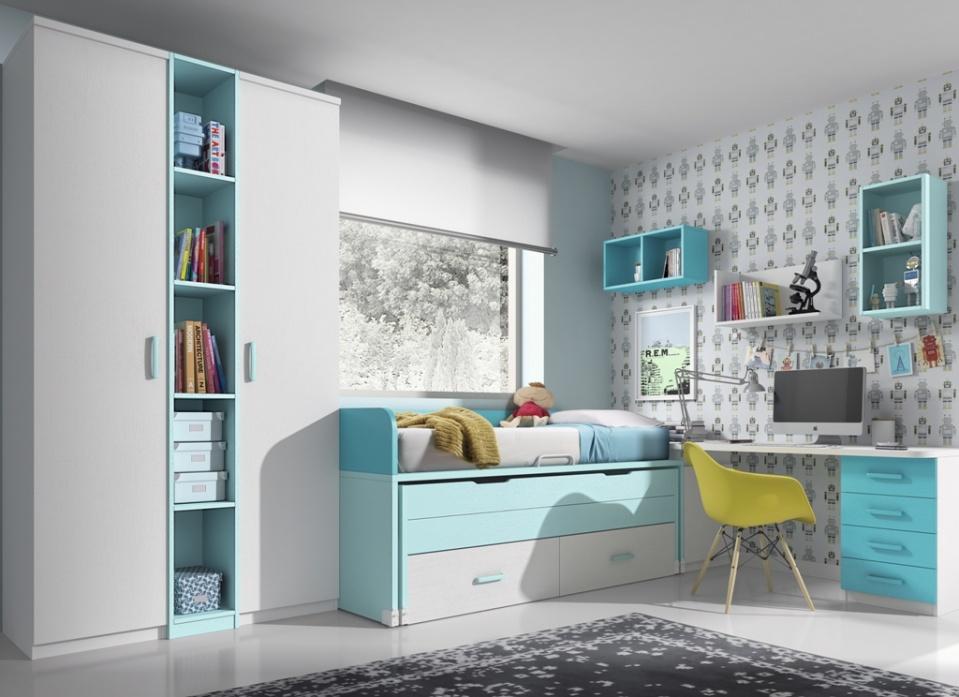 Propuesta de dormitorio juvenil compuesto por compacto con cama oculta y cajones, un original armario con estantería, y estudio a medida. Elige el color que más te guste.