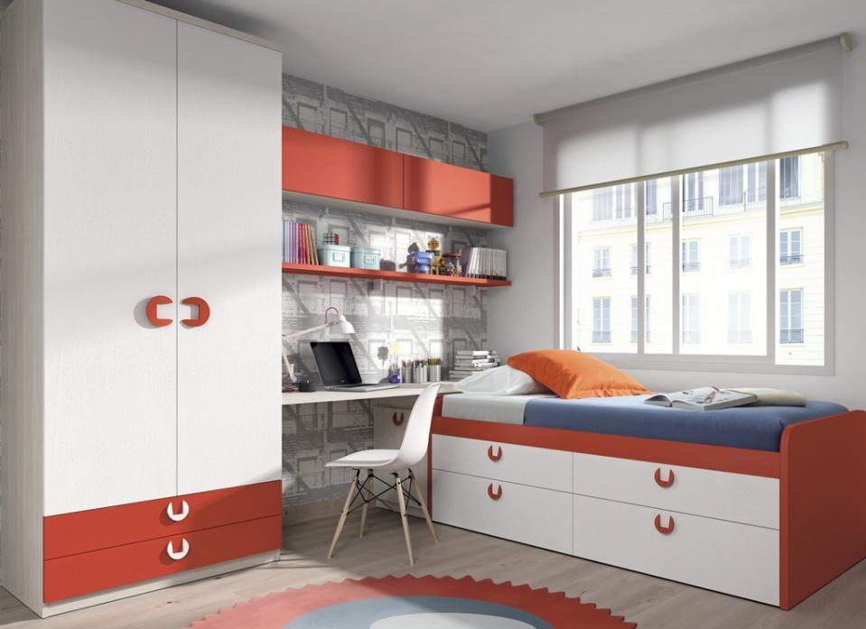 Muebles juveniles que crean un dormitorio sencillo pero con todo lo necesario para la comodidad. Se compone de compacto con cajones, armario 2puertas-2cajones y estudio a medida con estantes decorativos. Colores a elegir.