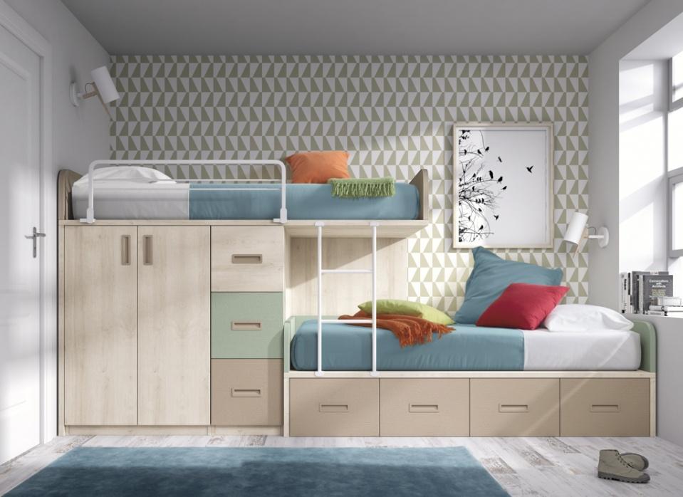 Muebles para dos con una litera ideal. Es una composición sobria por el color elegido pero juvenil y funcional. Con diferentes modulaciones y acabados adaptados a cada necesidad.