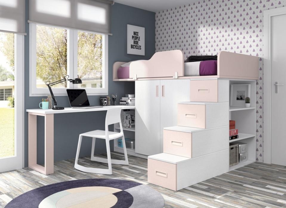 Litera juvenil con una original escalera, con una combinación de colores dulce y elegante. La composición con litera escritorio es todo un acierto para las habitaciones reducidas.