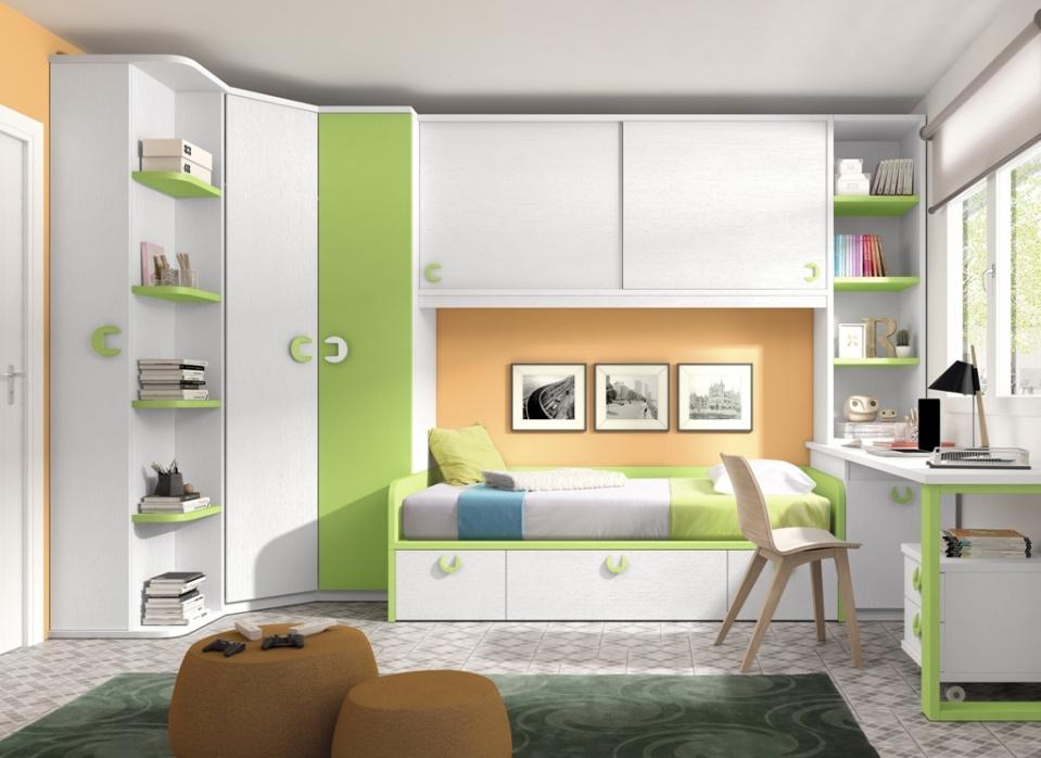 Composición juvenil muy completa con armario rincón con terminal y altillo puente corredera, también incluye la opción de cama nido y estudio a medida. Con una combinación de colores alegre y variable.