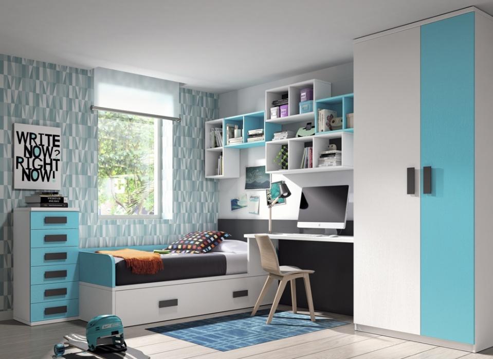Dormitorio juvenil sencillo y práctico compuesto de cama nido con armario 2 puertas, mesa estudio a medida y una combinación de estantes muy original. Y lo mejor, con una gama de colores casi ilimitada.