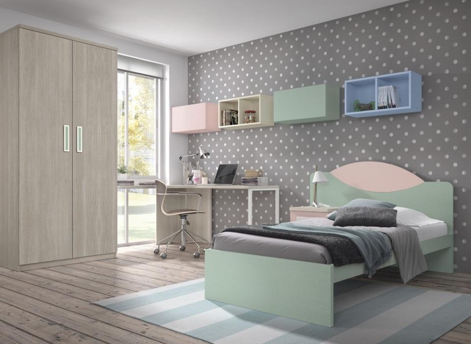 Dormitorio juvenil con un original cabecero con bancada opcional combinado en los colores que más te gusten, armario de 2 puertas, estudio a medida con pata metálica y estantes abatibles colgados.