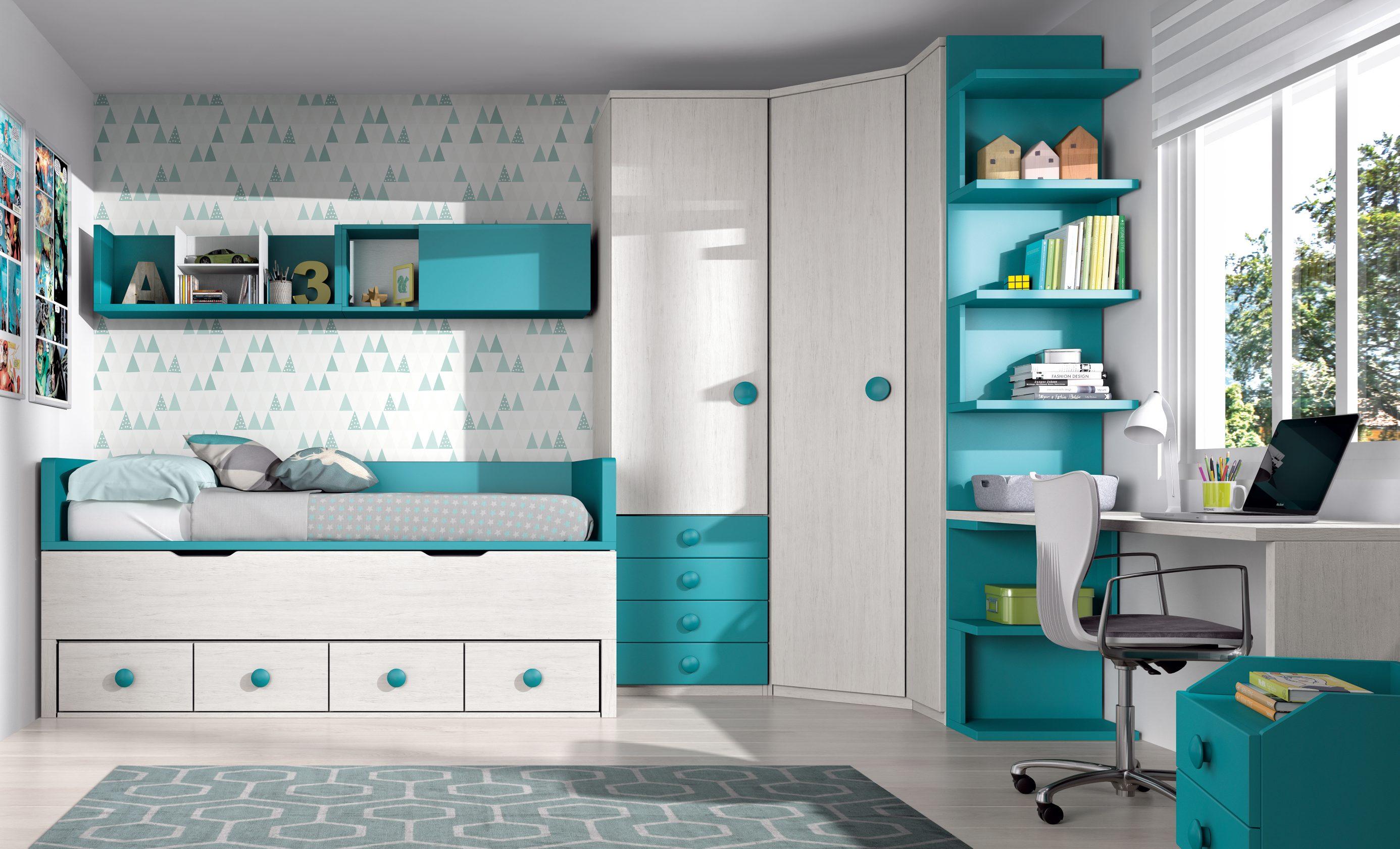 Dormitorio juvenil muy completo y aprovechado. Compuesto de compacto con cama oculta con cajones, armario rincón curvo con terminal zigzag y estudio a medida. Gran gama de modulaciones y acabados.