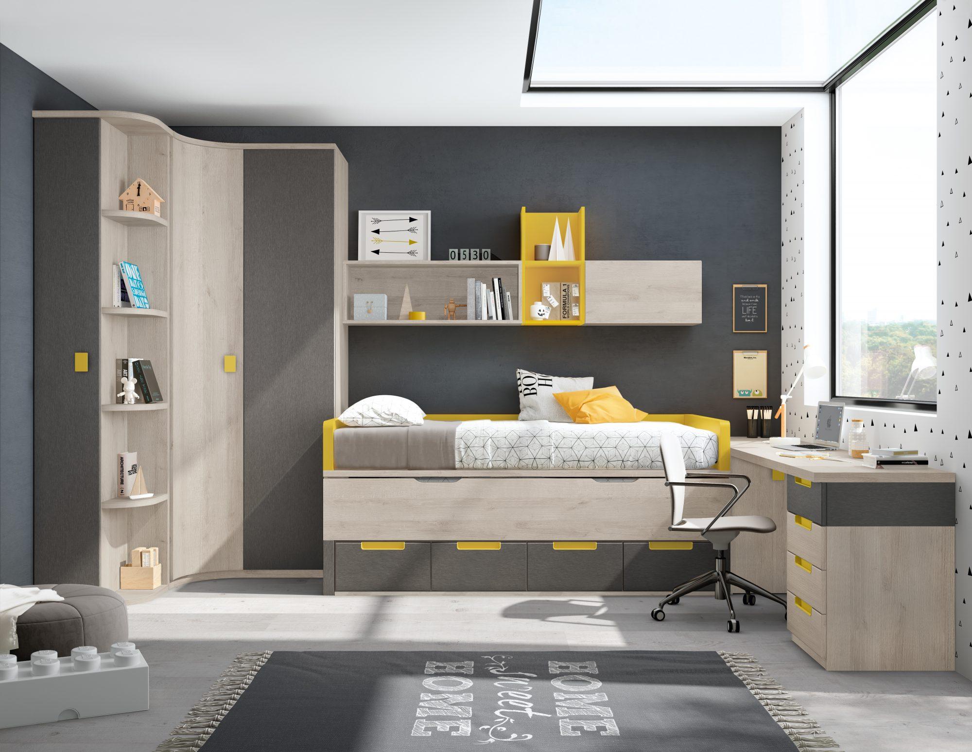 Dormitorio juvenil compuesto de compacto con cama oculta y cajones, armario rincón con terminal zapatero y estantes, arcon extraíble, estudio a medida con cajonera y estantes