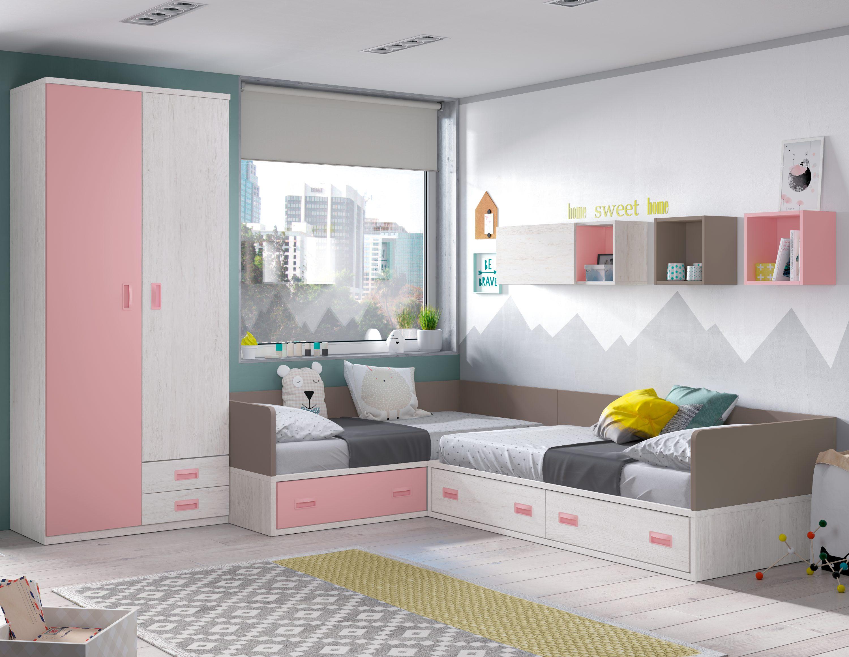Composición juvenil con camas modulares en colores dulces que es perfecta para el descanso y el estudio con armario 2 puertas y 2 cajones y cubos colgados que aportan dinamismo al conjunto.