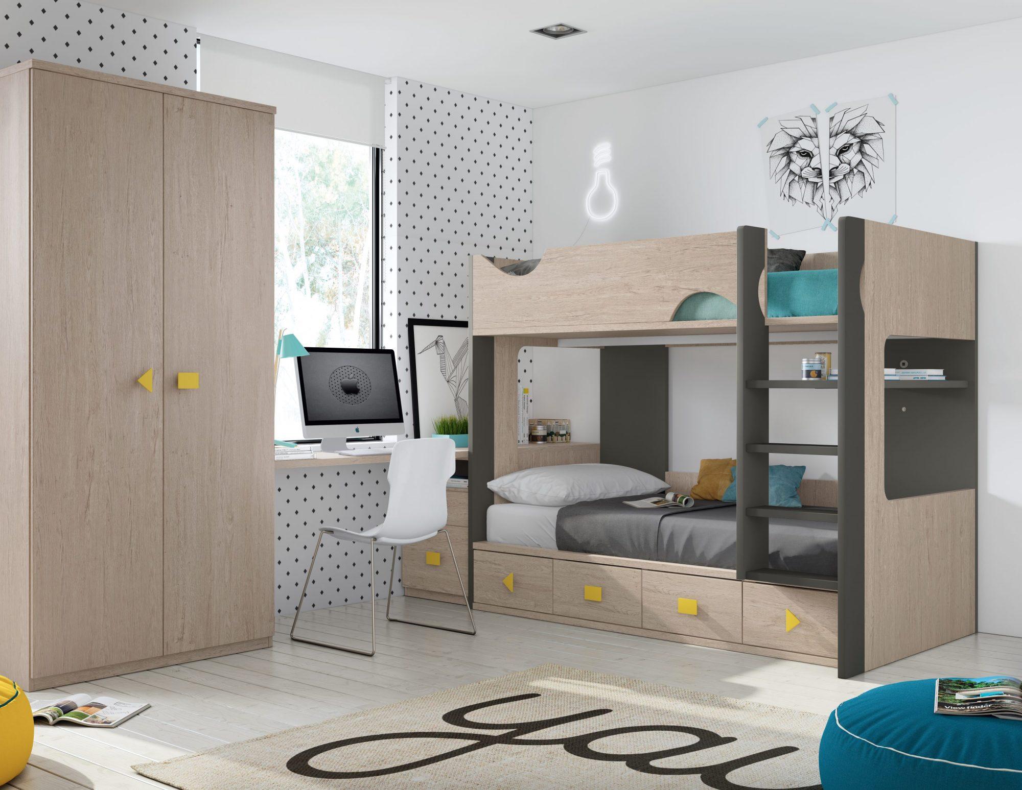 Elegante y diferente habitación con litera que consta de una práctica escalera y armario 2 puertas, arcón con cajones y estudio a medida. Gran gama de colores.