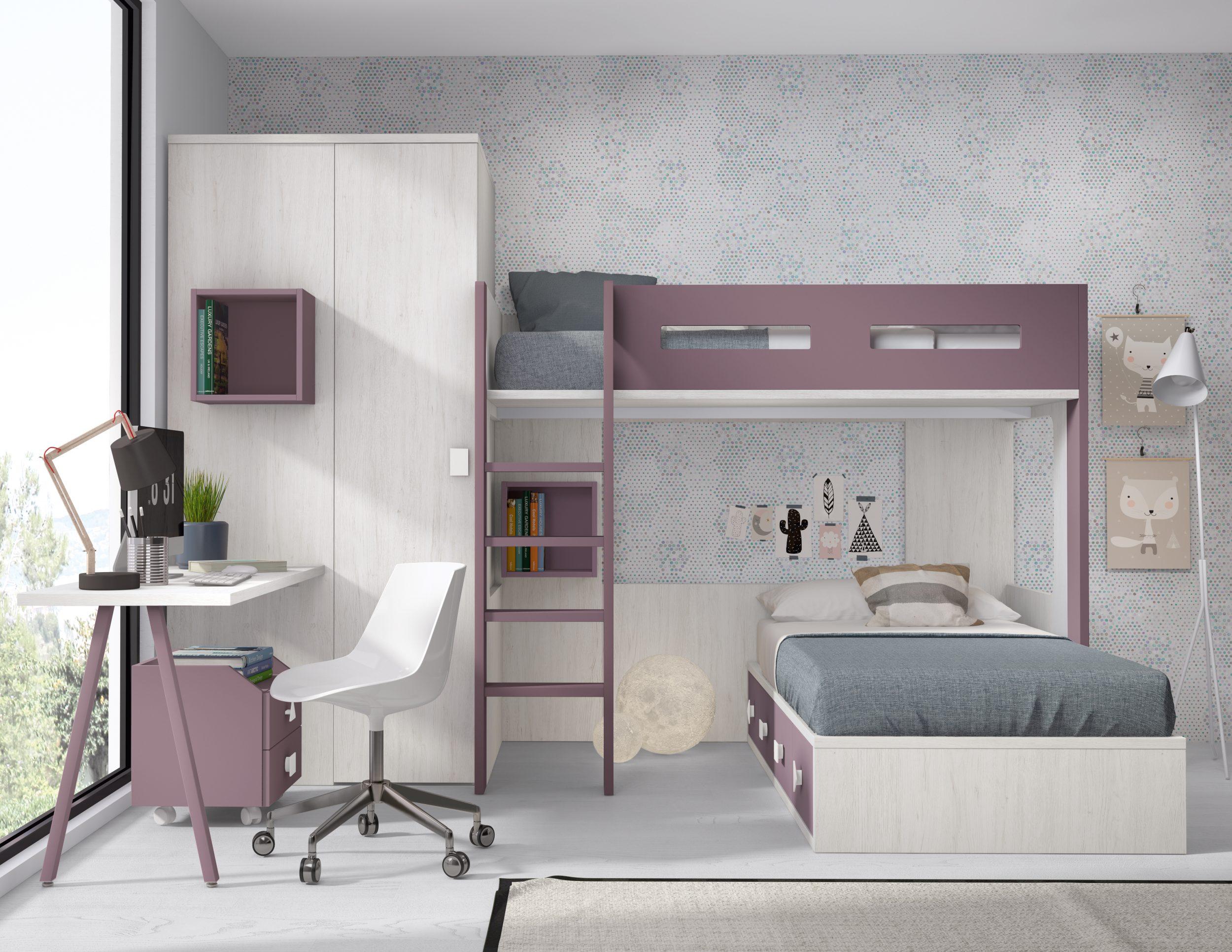 Muebles para el dormitorio con litera pero colocada de forma diferente, con armario dos puertas y estudio a medida con pata metálica invertida. Varias modulaciones y acabados.