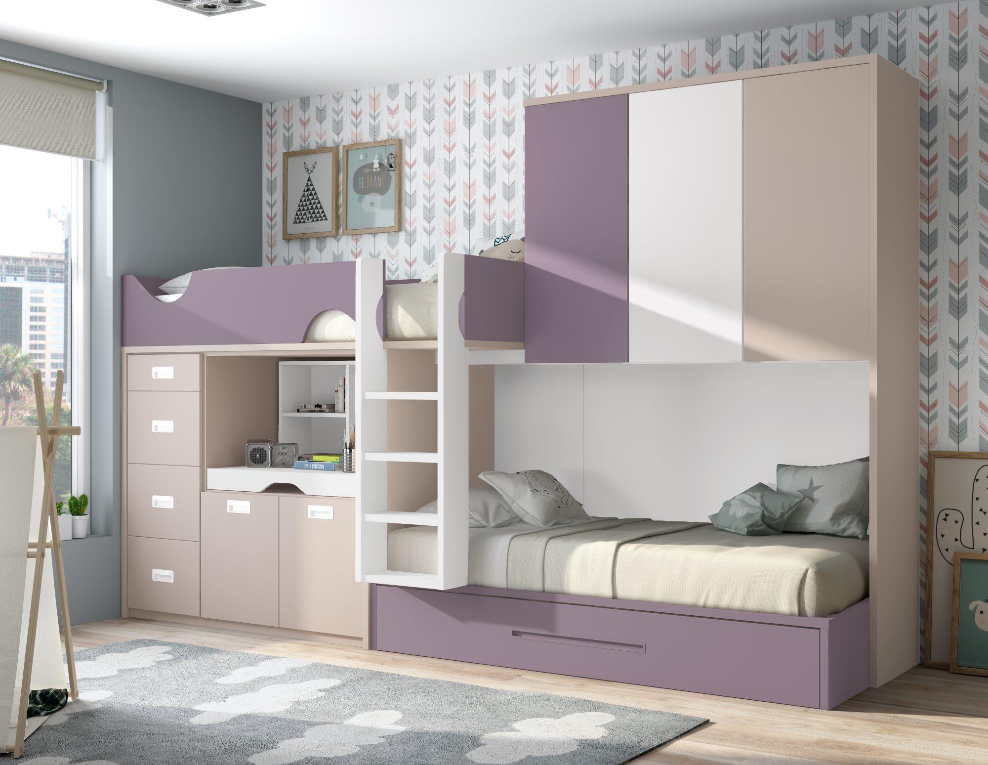 Cama tipo tren para crear un dormitorio juvenil amplio y moderno. Con armario puente gran capacidad para guardar todo lo necesario