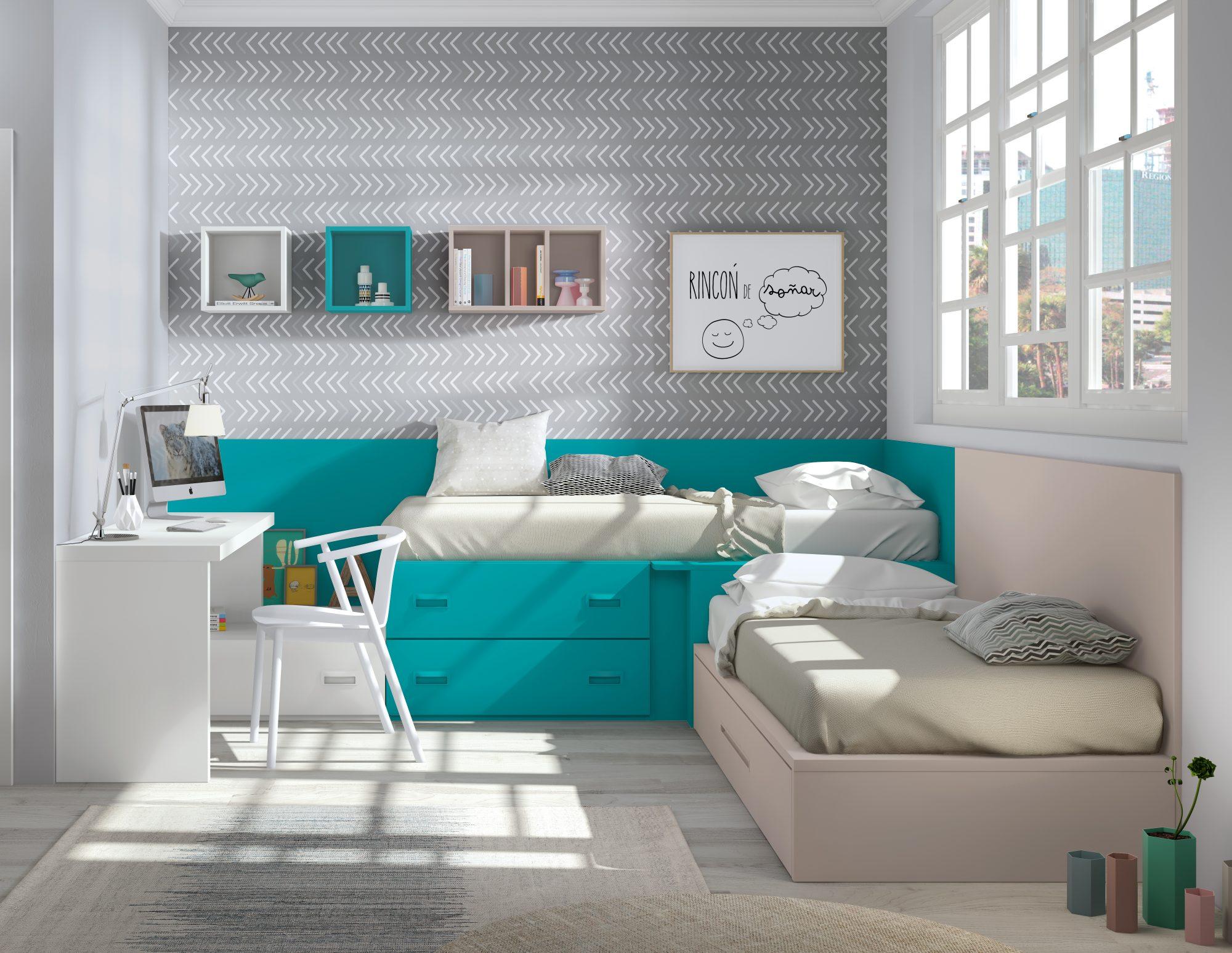 Camas módulos block para los más jóvenes de la casa, con diferentes opciones y en los colores, estudio a medida con costado.