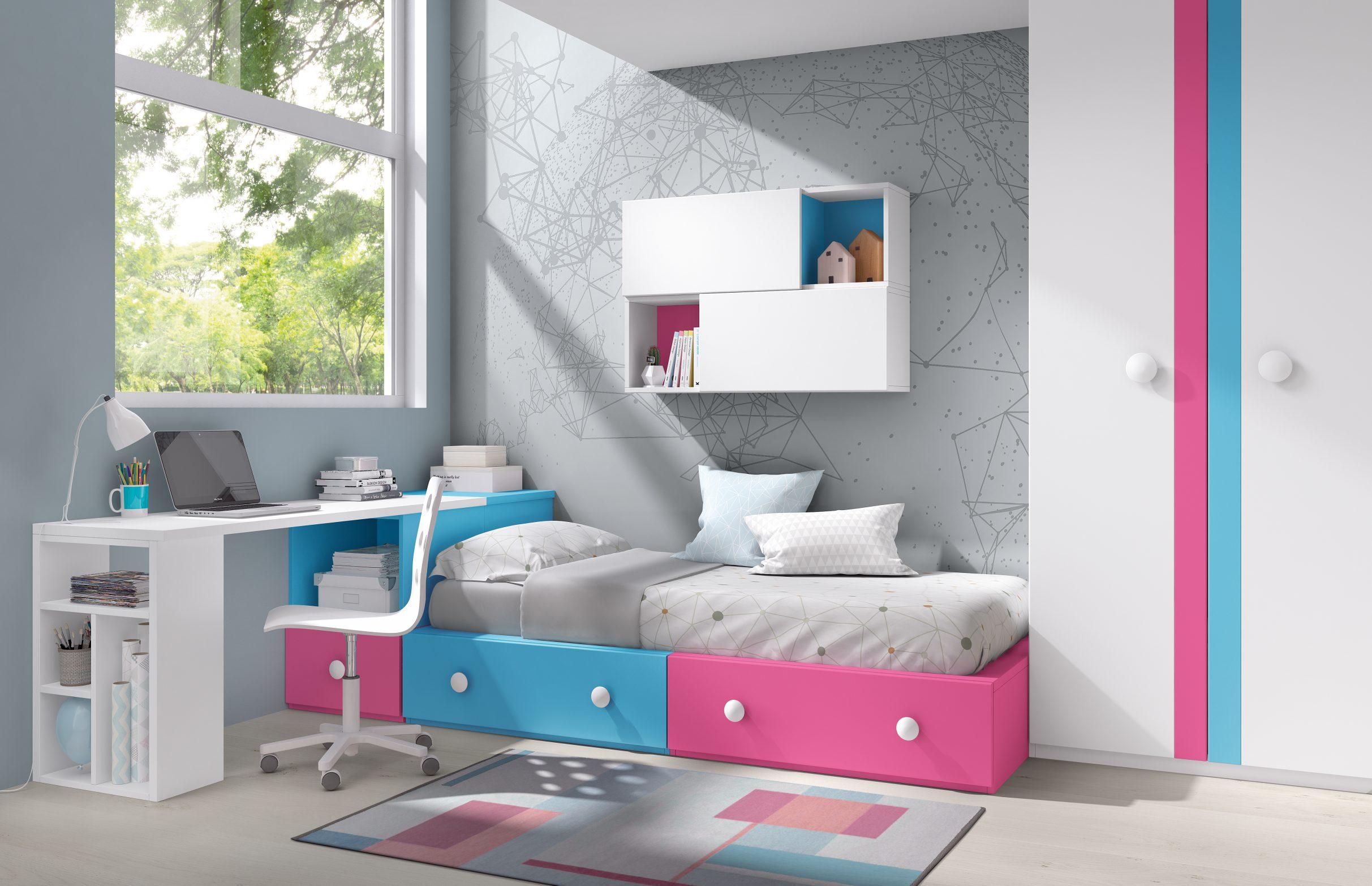 Cama con módulos block cajones con estudio a medida y original armario de dos puertas con tirador perfil, en la gama de colores que más te guste.