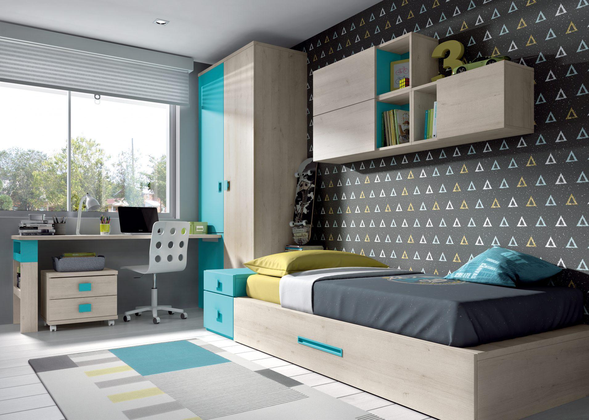 Actual y sencillo dormitorio juvenil compuesto de cama con arrastre en módulos block, con armario dos puertas y estudio a medida y estantes abatibles y abiertos colgados.